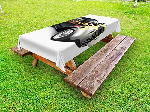 ABAKUHAUS Wijnoogst Tafelkleed voor Buitengebruik, Retro jaren '40 Auto van de Belemmering, Decoratief Wasbaar Tafelkleed voor Picknicktafel, 58 x 120 cm, grijs Oranje