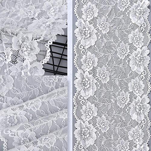 DACCU 3 yards 20 cm breed wit zwart elastische kant stof DIY handdoeken sewing decoratie accessoires voor garments elastische kanten trim wit