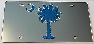Palmetto Tree with Moon South Carolina 镜面亚克力车牌架汽车标签
