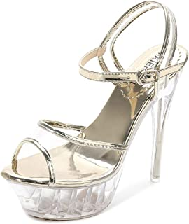 Womens Strappy Stiletto Cross Over Ankle Strap Sandals Crystal super high heel 14CM stiletto platform large size sanda