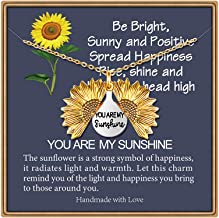 IEFSHINY You are My Sunshine Engraved Necklace, Memorial Sunflower Locket Necklace Sunflower Jewelry for Women Sunflower Necklace Sunflower Pendant