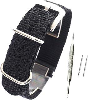 【ブラック 20mm 厚み1.8mm】NATOタイプ ナイロン ベルト ストラップ 腕時計 11Straps【バネ棒外しセット】
