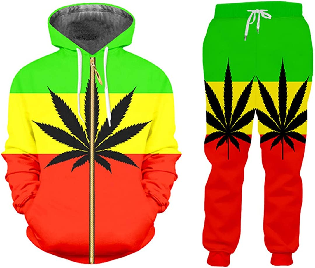 BXMYB Unisex 3D Printing In a popularity Tricolor Leaves Harajuku Tracksuits Jac Ranking TOP5