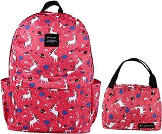 SHOOGOO Girls Laptop School Backpack Lightweight Unicorn Book Bags Sets (DARK PINK)