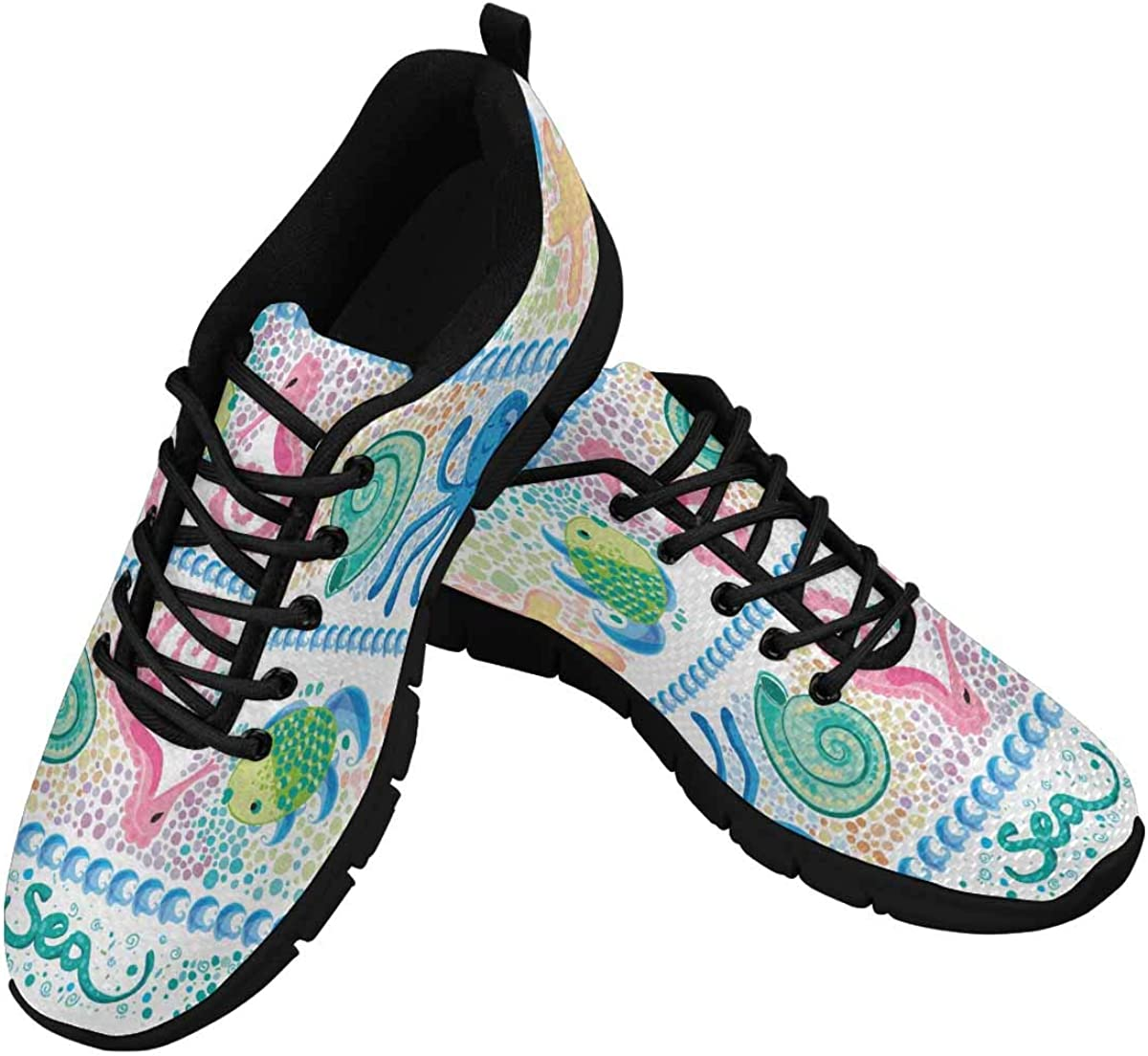 INTERESTPRINT Sea Shell Starfish Octopus Seahorse Women's Athletic Mesh Breathable Casual Sneakers Fashion Tennis Shoes
