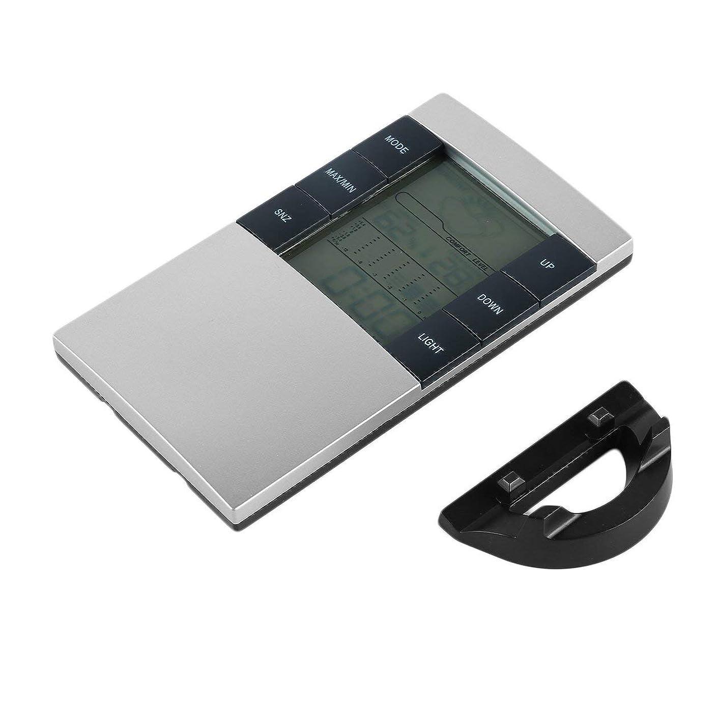 看板蜂風味Saikogoods デジタルLCD温度計湿度計 電子室内温度湿度モニター時計天気駅ホームアプリケーション シルバー&ブラック