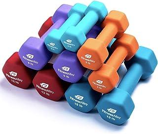 Fitness Alley Neoprene Dumbbell, Coated for Non Slip Grip - Hex Dumbbells Weight Set - Neoprene Hand Weight Pairs - Hex Hand Weights Neoprene Dumbbells Combos