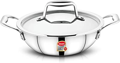 JENSONS Smilla Triply 18/10 Food Grade Stainless Steel Kadai with Stainless Steel Heavy LID-Induction Compatible-20 cm