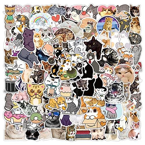 ZZHH 100 Piezas Kawai Gato Pegatina calcomanía Chica Lindo Animal de Dibujos Animados Pegatina para Maleta papelería Nevera Guitarra