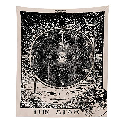 INTDORM Tarot-Stern-Tapisserie Wandbehang Sternzeichen Tapisserie Astrologie Tapisserie Meditation Tapisserie Mittelalter Tarot-Dekor Wandteppich für Schlafzimmer Schlafsaal (Der Stern, 130 x 150 cm)