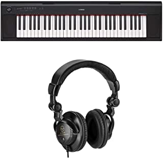 Yamaha NP12 61-Key Entry-Level Piaggero Portable Keyboard (Digital Piano), Black Bundle with H&A Closed-Back Studio Monitor Headphones (AC Adapter Not Included)