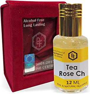 SHINE MILL Parag Fragrances Tea Rose Ch 12ml Attar/Perfume Oil/Fragrance Oil (Made in India by Traditional Indian Bhapka Process Method) with Handcrafted Velvet Box|Attar itra Long Lasting