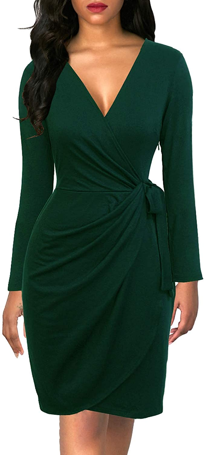 Berydress Women's Classic VNeck Long Sleeve Casual Party Work Belted KneeLength Sheath Faux Black Wrap Dress