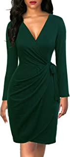 Women's Classic V-Neck Long Sleeve Casual Party Work Belted Knee-Length Sheath Faux Black Wrap Dress
