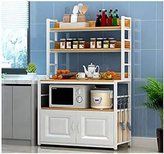KOKOF Supports de Rangement de Cuisine Multifonctions sur Pied ménagers avec Portes d'armoire White1-80
