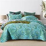 2021 Colchas acolchadas de Paisley verde Colcha de cama con estampado floral de algodón de 3 piezas Colcha de edredón suave de tamaño king de 230x250 cm con 2 fundas de almohada 50x70 cm