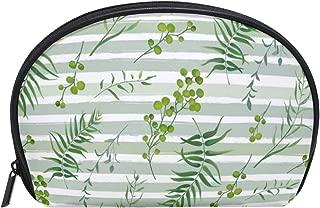 Half Moon Cosmetic Makeup Bag Palm Tree Fern Natural Toiletry Bag Travel Handy Purse Organizer Bag for Women