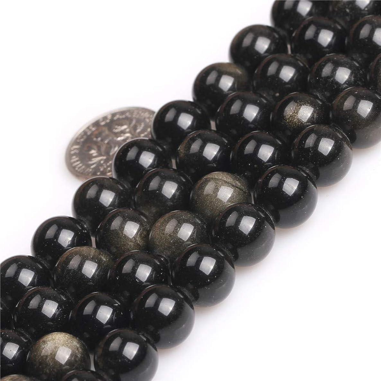 JOE FOREMAN 10mm Golden Black Obsidian Gemstone Round Beads for Jewelry Making 15