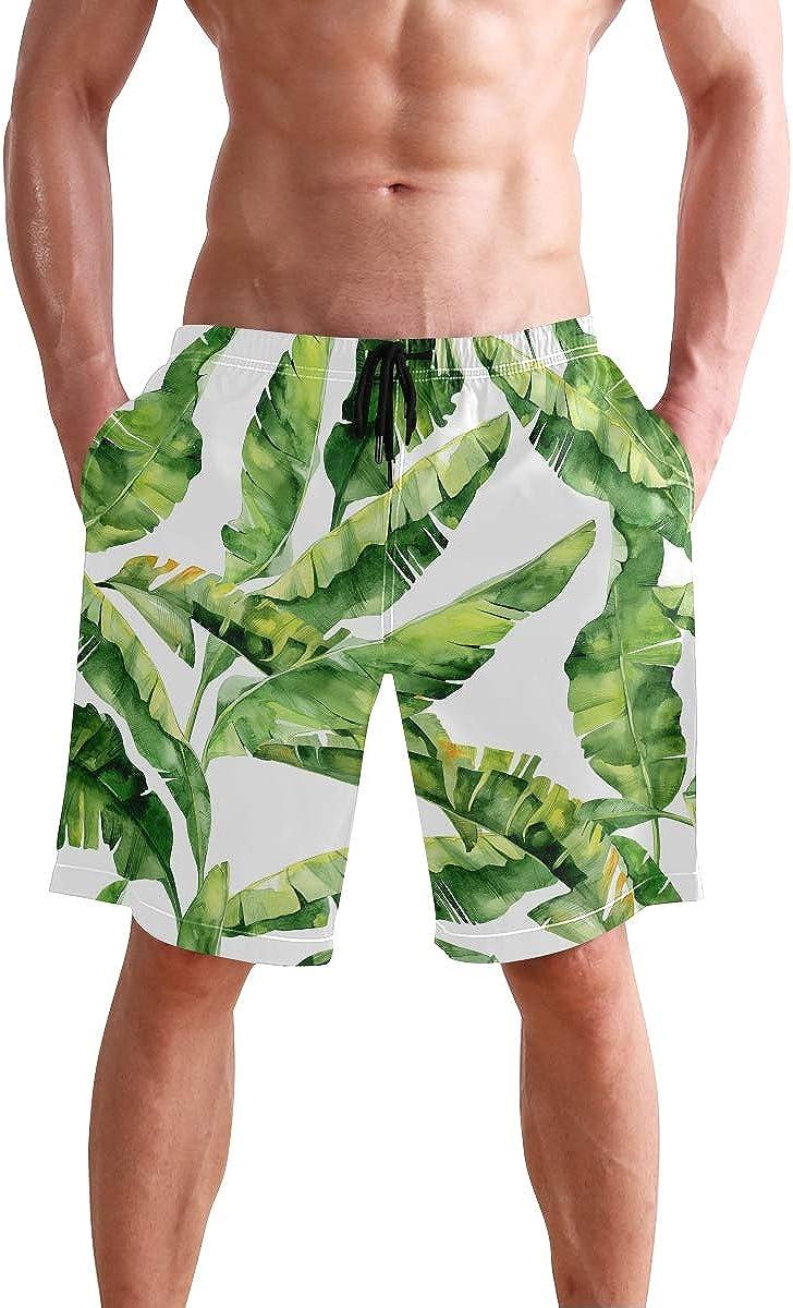 CENHOME Mens Swim Trunks Green Tropical Palm Leaves Beach Board Shorts