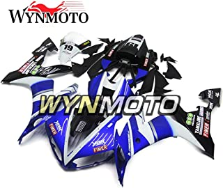 WYNMOTO Motorcycle Fairing Kit For Yamaha R1 YZF-R1 2004 2005 2006 Black White Blue Decals Cowlings