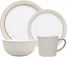 قماش طبيعي CNV-16PCT من دينبي (4 أطباق سلطة للعشاء، 4 أوعية حبوب، 4 أكواب) مجموعة أواني الطعام، مقاس واحد، أبيض محايد
