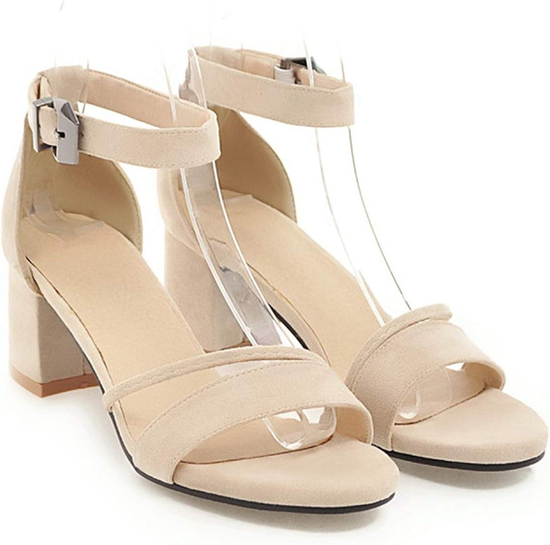 YuJi Sandals High Heels Summer shoes Woman 2019 Peep Toe Block Heels Ankle Strap Sandals,Beige,3