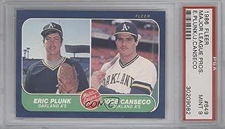 Eric Plunk; Jose Canseco Graded PSA 9 MINT (Baseball Card) 1986 Fleer - [Base] #649