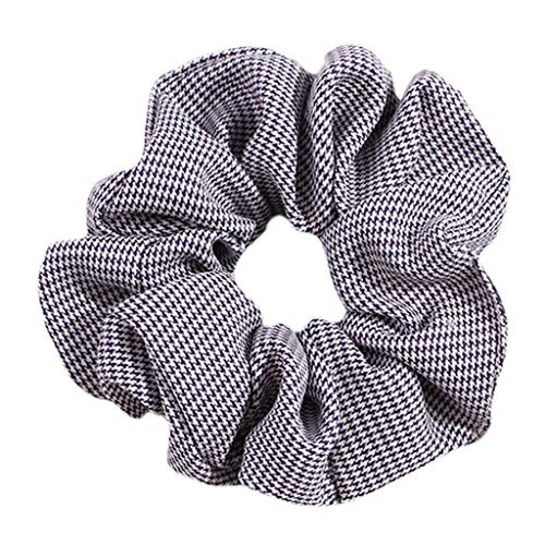 niumanery 24 Colors Fresh Country Style Women Hair Rope Striped Polka Dot Plaid Pattern Elastic Ponytail Holder Large Intestine Scrunchies T