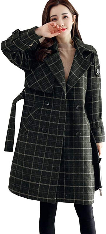 Beltnossnk Women Long Slim Green Plaid Woolen Jacket Warm Adjustable Waist Overcoat