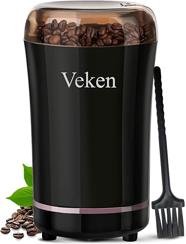 Veken Coffee Grinder Electric Spice Nut Grinder With Stainless Steel Blade Detachable Power Cord Coffee Bean Grinder For Coffee Grounds Grains 12 Cups Black