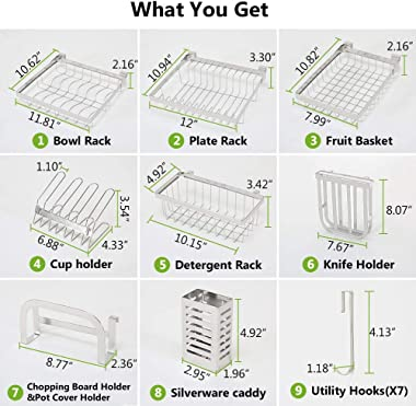 Over the Sink Dish Drying Rack - 1Easylife Adjustable 2-Tier Large Dish Dryer Rack for Kitchen Organizer Storage Space Saver