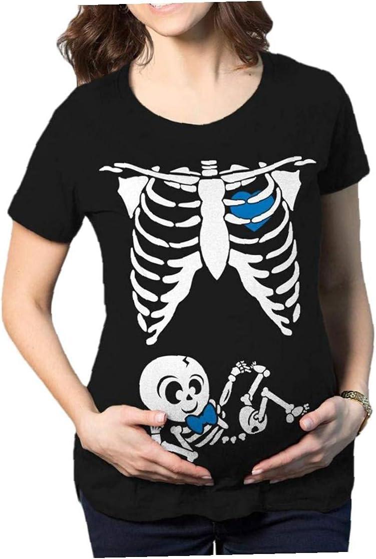 EElabper Halloween Popular standard Themed Maternity Tops Round Skeleton Printed 5 popular