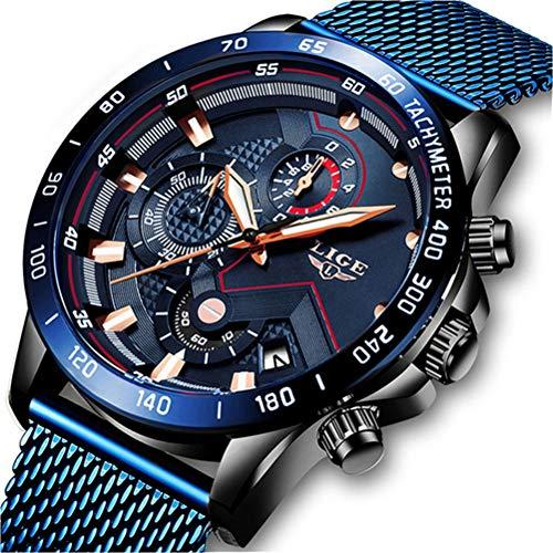 Armband Uhren Herren Edelstahl Mesh Band Chronograph Quarz Uhr Blau Männer Datum Kalender Wasserdicht Multifunktions Armbanduhr Schwarze Blau