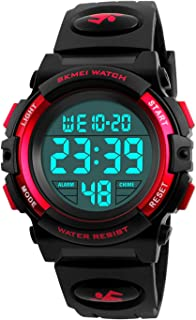 Kid's Digital Watch Outdoor Sports 50M Waterproof Electronic Watches Alarm Clock 12/24 H Stopwatch Calendar Boy Girl Wristwatch - Red