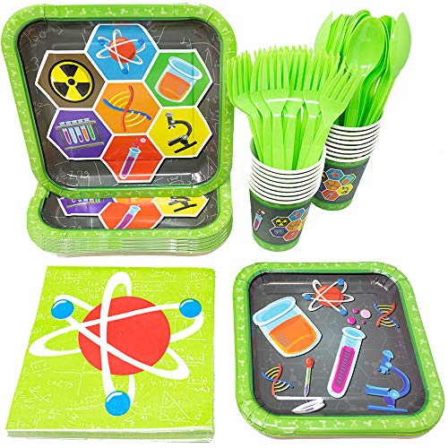 Science Party Supplies Packs (113+ Pieces for 16 Guests!), Science Party Tableware, Science Party Supplies