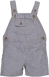 Boys Baby Toddler Railroad Stripe Bib Overalls Shortall