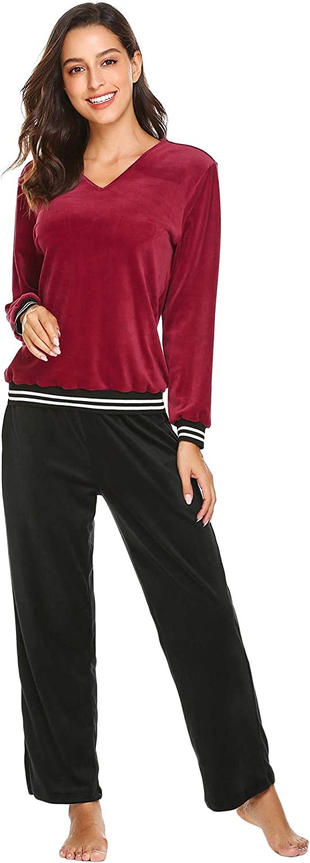 Dorani Women Winter Pajama Casual Coral Fleece Long Sleeve Loose Homewear Set