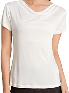 METWAY Women's T Shirt Short Sleeve Comfy Fit Swing Neck Silk Tops