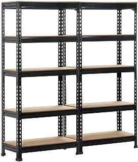 Yaheetech 5-Shelf Units Storage Rack Corner Shelf Organization Utility Rack Multipurpose Shelf Display Rack for Home Kitchen Living Room Bedroom Office 59.1'' Height, 2 Set