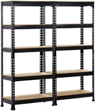Topeakmart 2PCS 5 tier Heavy Duty Shelving Units and Garage Storage Shelves Shelving Rack Utility Shelves
