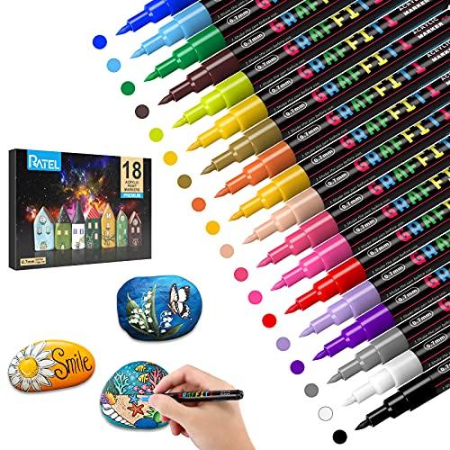 Steine Bemalen Acrylstifte für Steine, RATEL 18 Farben Acrylstifte Marker Stifte Wasserfester Stift Acrylstifte für Leinwand - Acrylic Painter Marker für DIY Fotoalben,...