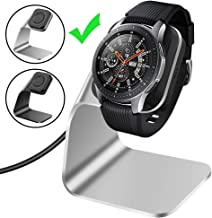CAVN Compatible with Samsung Galaxy Watch Charger 42mm 46mm Gear S3 Charger Dock Stand, Replacement Aluminum Charging Cable Cord Station Cradle Base with 4.2ft USB Accessory (Not for Active), Silver