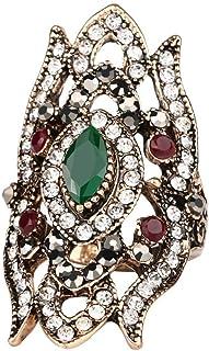خاتم نسائي من CKHAO - مطلي بالذهب العتيق الفريد من نوعه حجر كريم ملون تركي خواتم خمر للنساء مجوهرات J0586G