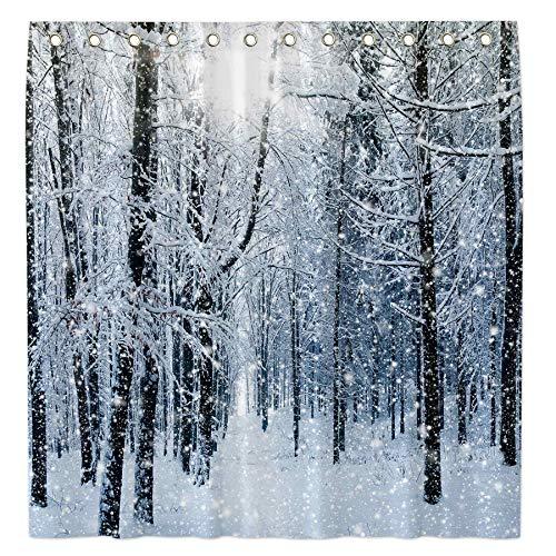 Allenjoy Duschvorhang mit Winterwald-Motiv, 183 x 183 cm, für Badezimmer, Set mit schneebedecktem Wasser, maschinenwaschbar, mit 12 Haken