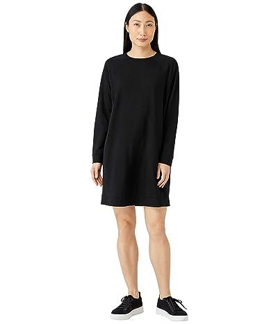 Eileen Fisher Crew Neck Raglan Sleeve Knee Length Dress in Organic Cotton Stretch Jersey
