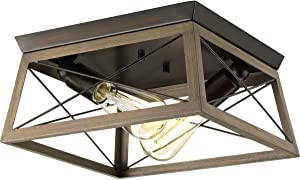 Briarwood Collection Rich Oak Two-Light Farmhouse Flush Mount Ceiling Light