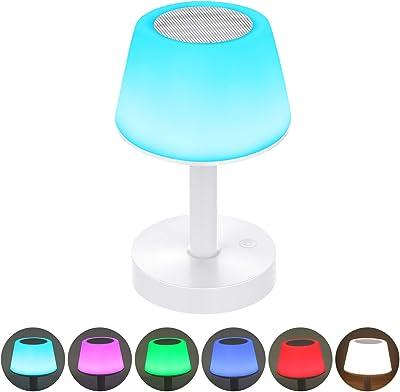 Lámpara de noche LED altavoz Bluetooth portátil, lámpara de noche táctil con color cambiante, lámpara de mesa recargable con luz blanca cálida para dormitorio, cuarto de bebé y salón Tikitaka