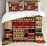 Juego de sábanas africanas de 3 piezas Juego de funda nórdica, patrón asiático estilo patchwork con estampado de elefantes y motivos culturales antiguos, juego de fundas de edredón / edredón de 3 piez