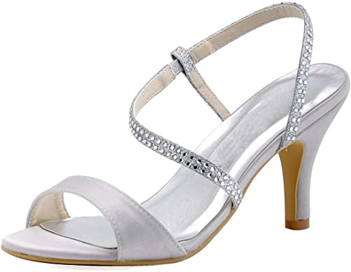 ZHRUI Les Les dames Cristaux Cheville Wrap Satin mariée Mariage Sandales (Couleuré   Ivory-7.5cm Heel, Taille   4.5 UK)