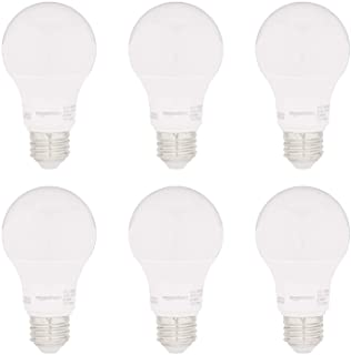 Amazon Basics 60W Equivalent, Daylight, Non-Dimmable, 15,000 Hour Lifetime, CEC Compliant, A19 LED Light Bulbs | 6-Pack